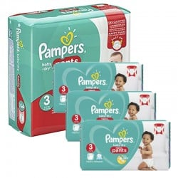 234 Couches Pampers Baby Dry Pants taille 3