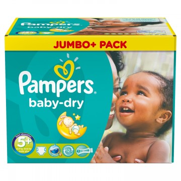 198 Couches Pampers Baby Dry taille 5+