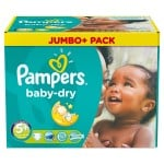 136 Couches Pampers Baby Dry taille 5+