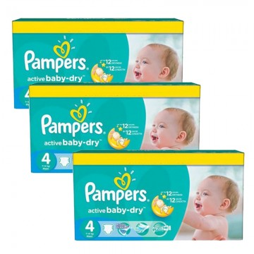 91 Couches Pampers Active Baby Dry taille 4