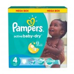195 Couches Pampers Active Baby Dry taille 4