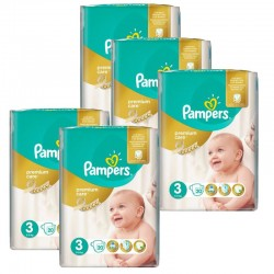 180 Couches Pampers Premium Care taille 3