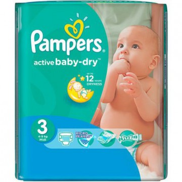68 Couches Pampers Active Baby Dry taille 3
