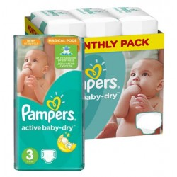 136 Couches Pampers Active Baby Dry taille 3