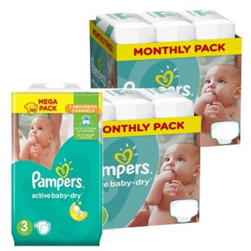476 Couches Pampers Active Baby Dry taille 3