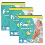 196 Couches Pampers Active Baby Dry taille 4