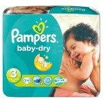 Pack de 34 Couches Pampers Baby Dry sur auchan
