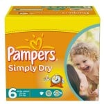 62 Couches Pampers Simply Dry taille 6