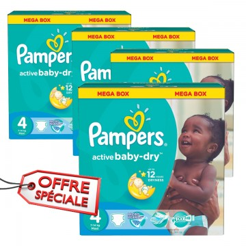 350 Couches Pampers Active Baby Dry taille 4