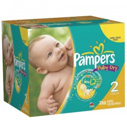 288 Couches Pampers Baby Dry taille 2