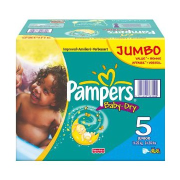 253 Couches Pampers Baby Dry taille 5