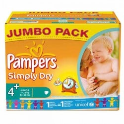 308 Couches Pampers Simply Dry taille 4+