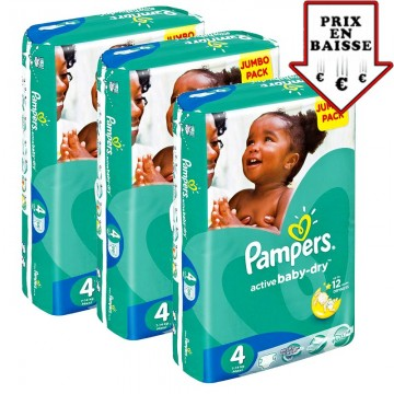 182 Couches Pampers Active Baby Dry taille 4