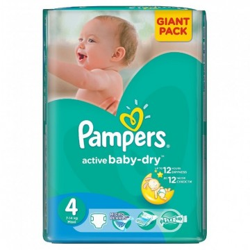 58 Couches Pampers Active Baby Dry taille 4