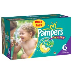 152 Couches Pampers Baby Dry taille 6+