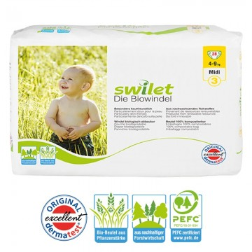 28 Couches bio écologiques Swilet New Baby Dry taille 3
