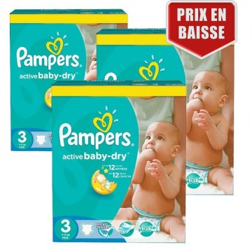 246 Couches Pampers Active Baby Dry taille 3