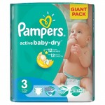 Pack 82 Couches Pampers d'Active Baby Dry sur layota