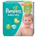 Pack de 28 Couches Pampers de Baby Dry sur auchan