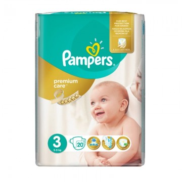 20 Couches Pampers Premium Care Prima taille 3