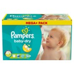 164 Couches Pampers Baby Dry taille 4+