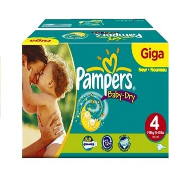132 Couches Pampers Baby Dry taille 4