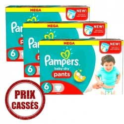 345 Couches Pampers Baby Dry Pants taille 6