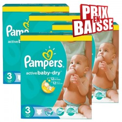135 Couches Pampers Active Baby Dry taille 3