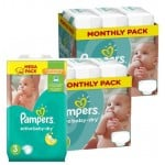 195 Couches Pampers Active Baby Dry taille 3