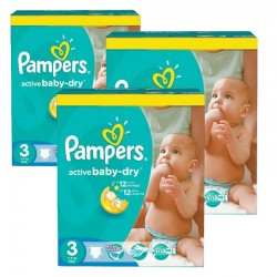 225 Couches Pampers Active Baby Dry taille 3