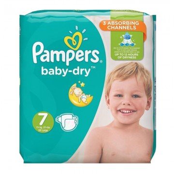 29 Couches Pampers Baby Dry taille 7
