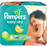 30 Couches Pampers Baby Dry taille 3