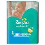 124 Couches Pampers Active Baby Dry taille 3