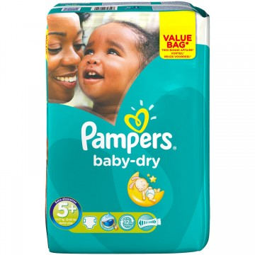 56 Couches Pampers Baby Dry taille 5+