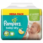 80 Couches Pampers Baby Dry taille 4+