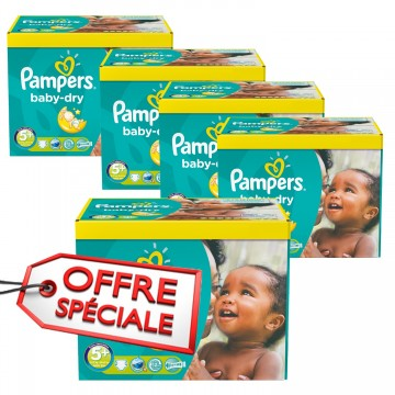 112 Couches Pampers Baby Dry taille 5+