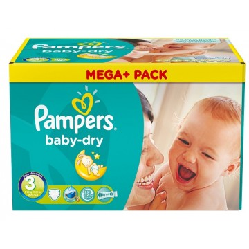 114 Couches Pampers Baby Dry taille 3